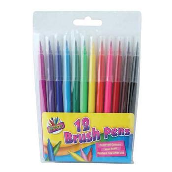 12 Quality Brush Fibre Colouring Pens