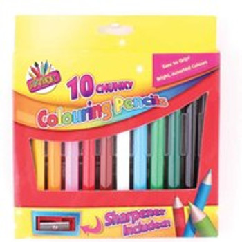 10 Chunky Half Size Colouring Pencils and Sharpener