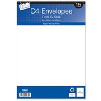 15 C4 White Peel & Seal Envelopes
