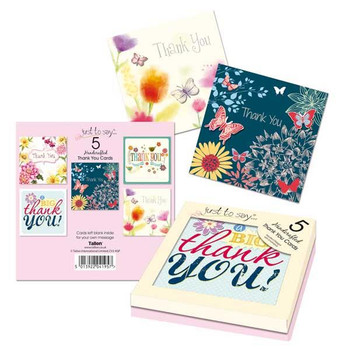 5 Hand Made Luxury Thank You Cards