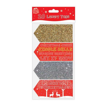 20 Luxury Glitter and Foil Christmas Gift Tags