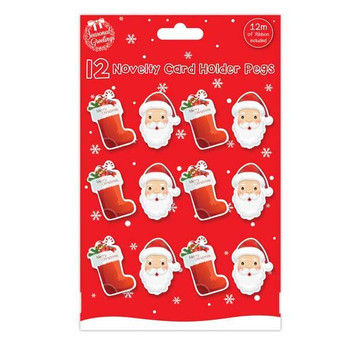 12 Large Novelty Christmas Card Holder Pegs With 2m of Ribbon