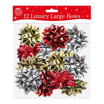 12 Luxury Large Bows Traditional Colours