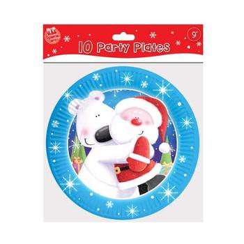 "10 9"" Plates Cute Christmas"