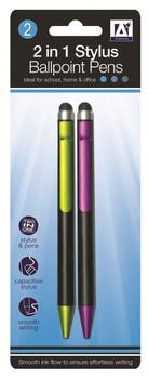 2 x 2in1 Stylus Ballpoint Pens