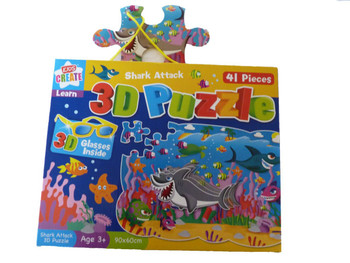 3D Shark Attack Boys Puzzle - 3D Glasses