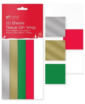 20 Sheets Christmas Tissue Gift Wrap - Assorted Colours