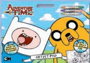 Adventure Time Artist Pad Includes 3 Crayons & Reusable Stickers
