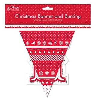 Merry Christmas Banner and Bunting Set for Xmas Parties and Decorations