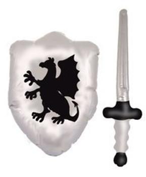 Inflatable Shield 48cm W/Swords 62cm set