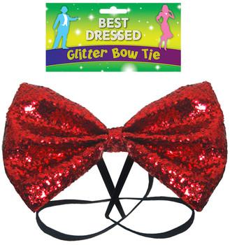 Bow Tie Glitter 12 x 7cm Red