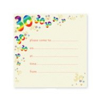 Pack of 10 30th Birthday Party Invitations with Envelope