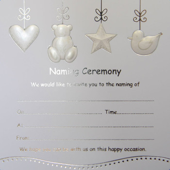 Pack of 10 Luxury Silver Foiled Baby Naming Ceremony Invitations Cards New Born.