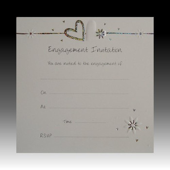 Pack of 10 Luxury Engagement Invitations - Hearts & Flowers