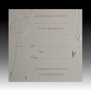 Pack of 10 Christening Bow luxury card invitations with envelopes - white and silver