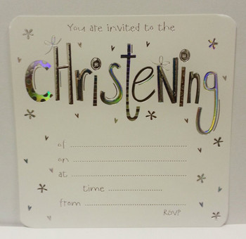 Pack of 10 Christening Invitation Card Sheets with Envelopes