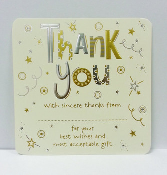 Pack of 10 Luxury Thank You Card Sheets with Envelopes