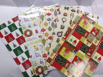 10 Sheet of Mix Designer' Quality Soft touch Foiled Christmas Giftwrap and Tags