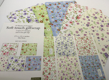 10 Sheet of Mix Designer Soft Touch Gift Wrap