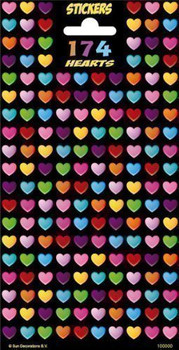 174 Colourful Hearts Glitter Finished Children Stickers Party Bag Filler