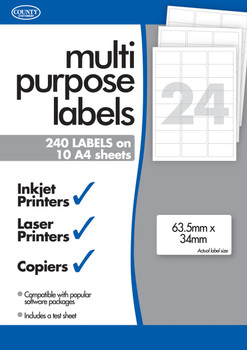 10 Sheets of Multipurpose Printer Labels TwentyFour/24 Per Sheet
