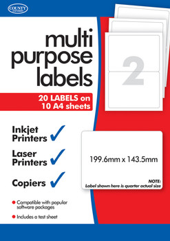 10 Sheets of Multipurpose Printer Labels 2, Per Sheet
