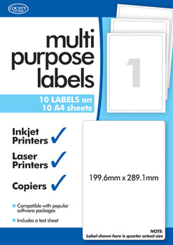10 Sheets of Multipurpose Printer Labels, 1 Per Sheet