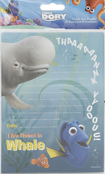 Finding Dory Pack of 20 Thank You Sheets With Envelopes