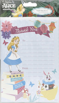 Alice In Wonderland Pack of 20 Thank You Sheets Disney With Envelopes