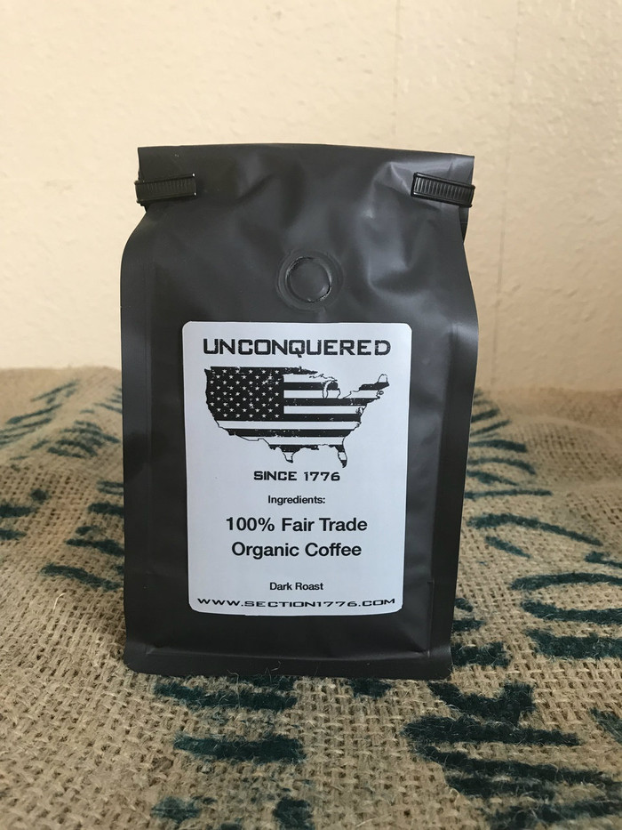 "Dark roast to help you attack the day and remain ""Unconquered""."