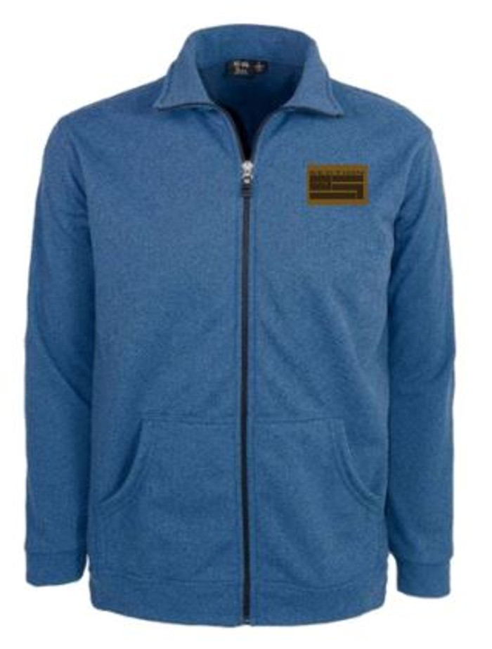 Classic Blue Full-Zip W/ Leather Patch