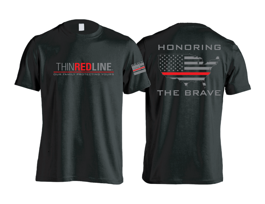 Thin Red Line - Black Short Sleeve