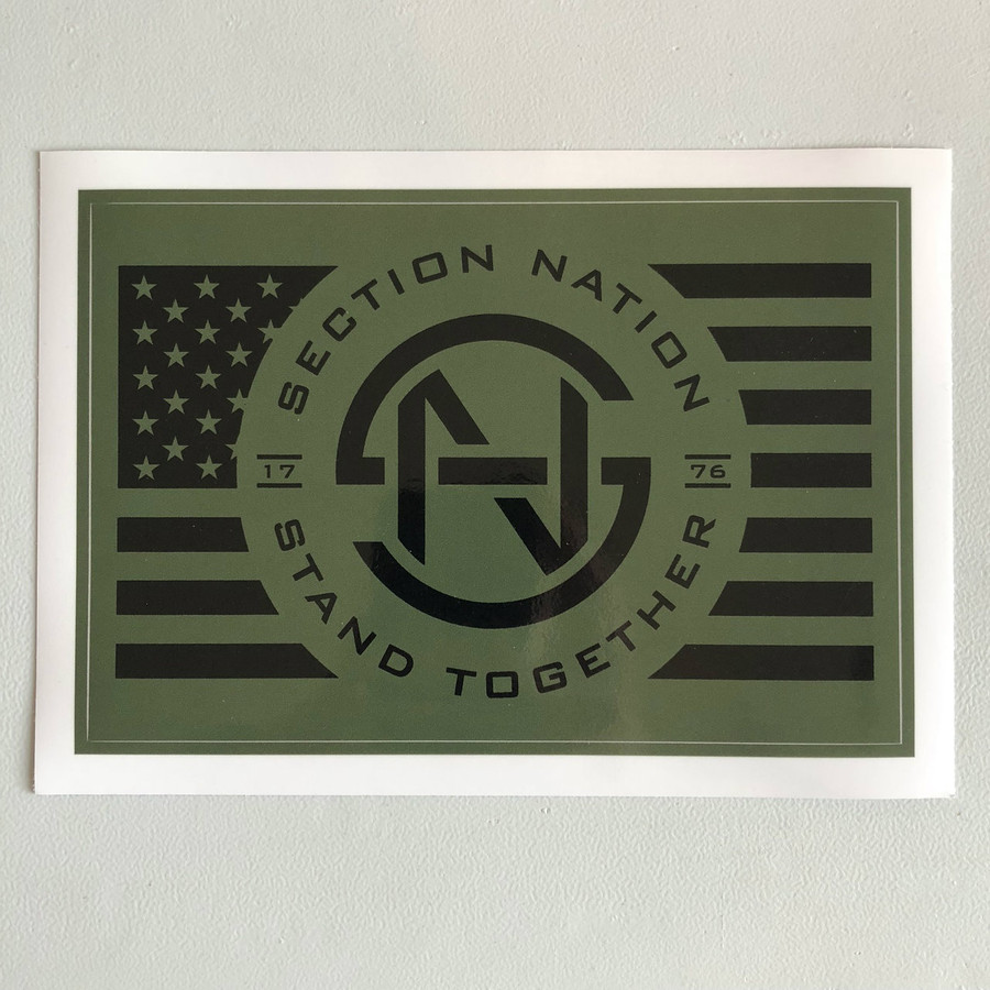 """5"""" x 7.5"""" Section Nation Sticker - Olive Drab"""