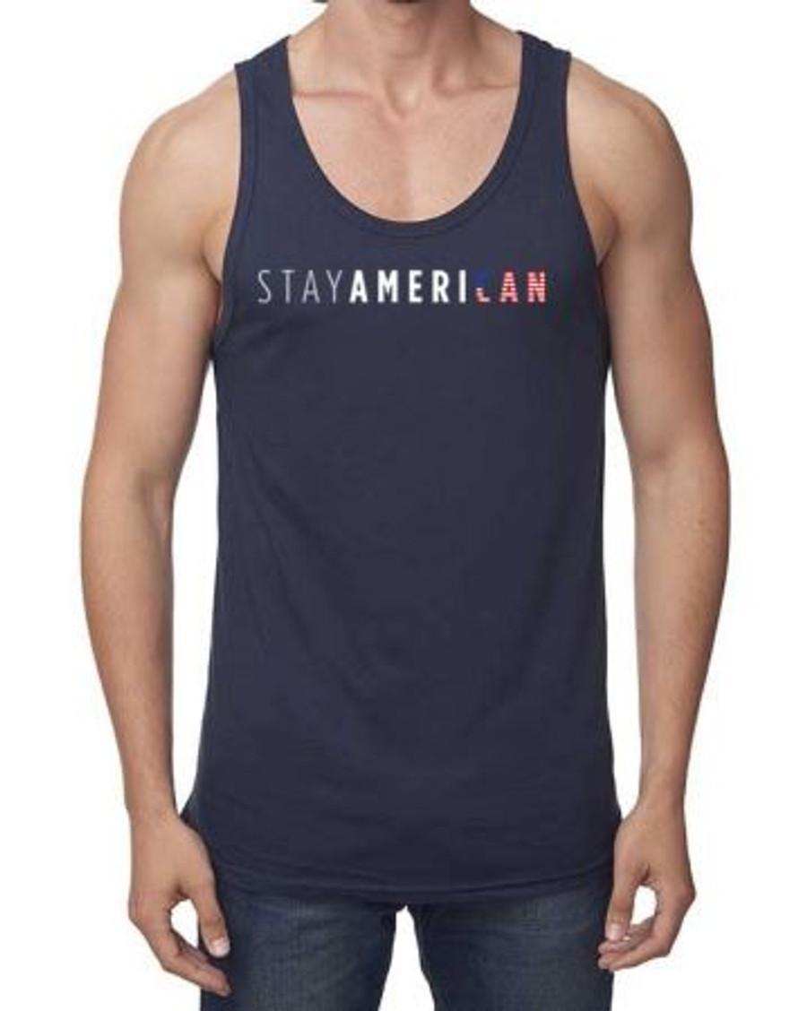 Navy Stay American Tank - Unisex