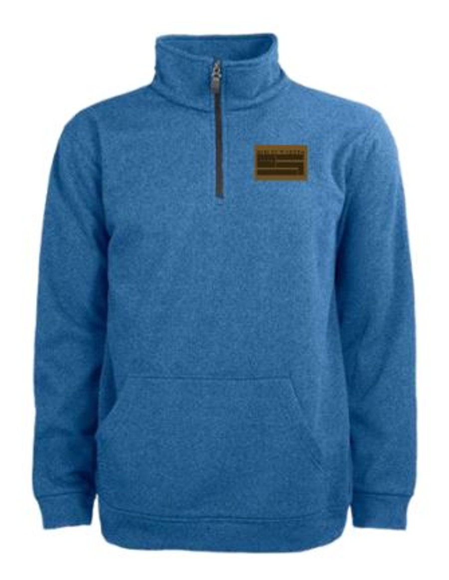 1/4 Zip Pullover w/ Leather Patch - Steel Blue