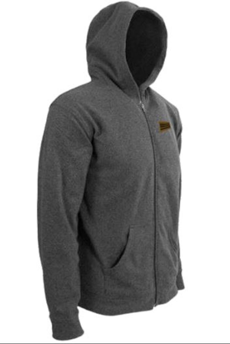 Classic Zip-up Hoodie w/ Leather Patch - Grey