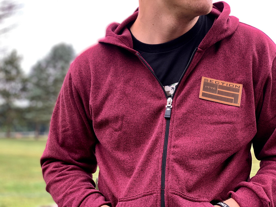 Classic Zip-up Hoodie w/ Leather Patch - Burgandy