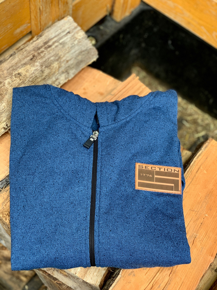 Classic Zip-up Hoodie w/ Leather Patch - Steel Blue