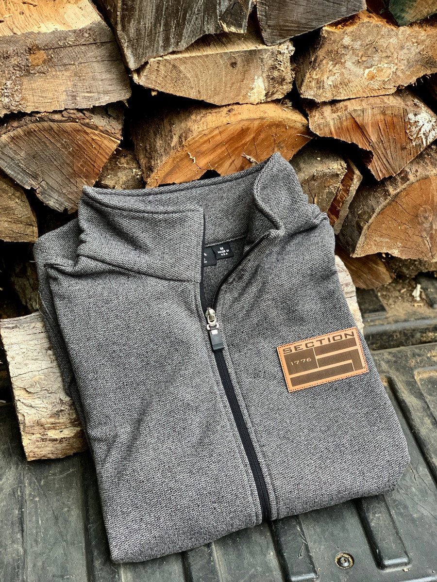 Classic Grey Full Zip-up W/ Leather Patch