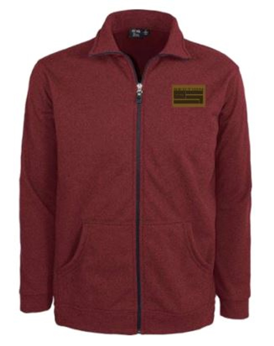 Classic Burgundy Full Zip-up W/ Leather Patch