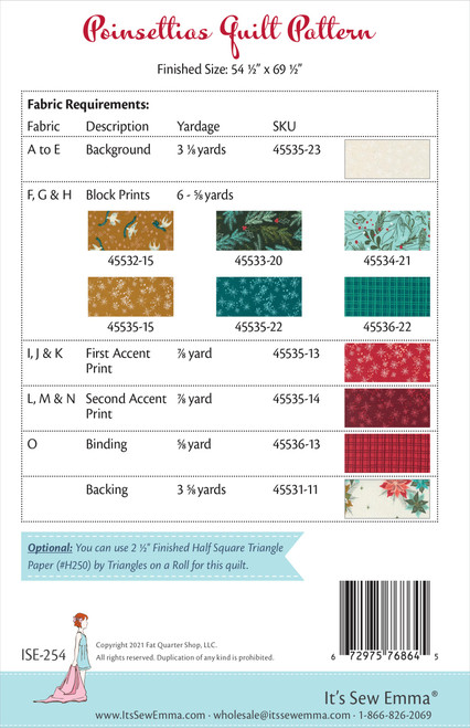 3 Pack It's Sew Emma Quilt Pattern-Poinsettias -ISE254