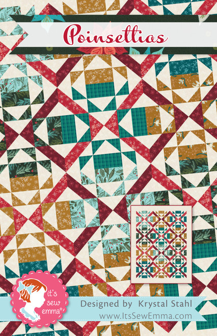 It's Sew Emma Quilt Pattern-Poinsettias -ISE254 - 672975768645
