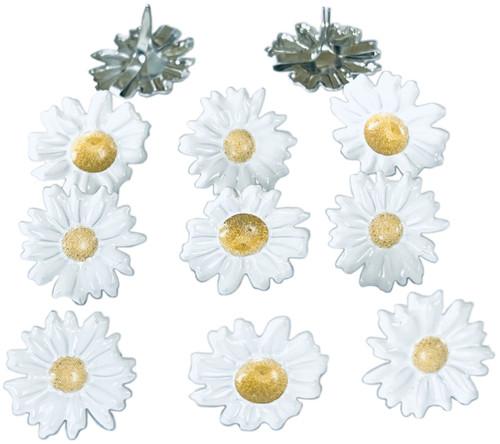 Eyelet Outlet Shape Brads 12/Pkg-White Daisy -QBRD2-214 - 810787025864