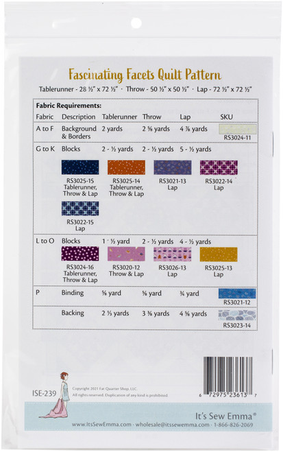 It's Sew Emma Quilt Pattern-Fascinating Facets -ISE239