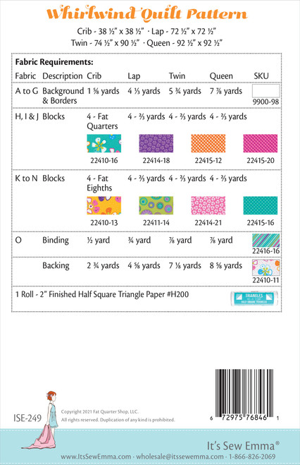 It's Sew Emma Quilt Pattern-Whirlwind -ISE249