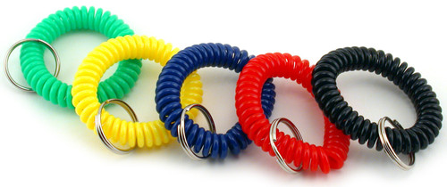Keychain Wrist Coil Bucket 72/Pkg-Assorted Colors -TPG263 - 634901002636
