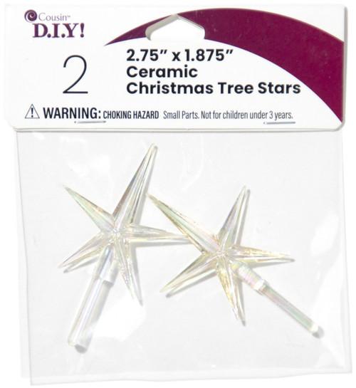 "Ceramic Christmas Tree Stars 2.75""X1.875"" 2/Pkg-Iridescent -40000458 - 191648093858"