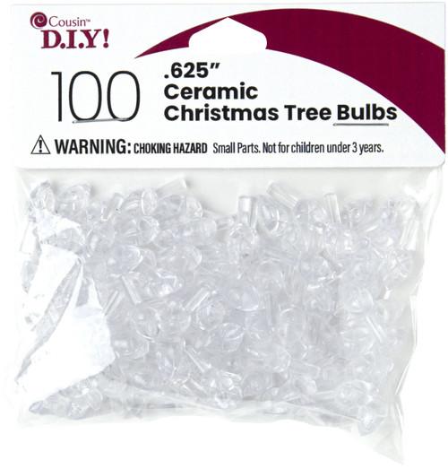 """Ceramic Christmas Tree Bulbs .625"""" 100/Pkg-Clear -40000460 - 191648093872"""