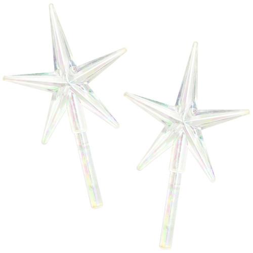 "Ceramic Christmas Tree Stars 3.875""X2.625"" 2/Pkg-Iridescent -40000459 - 191648093865"