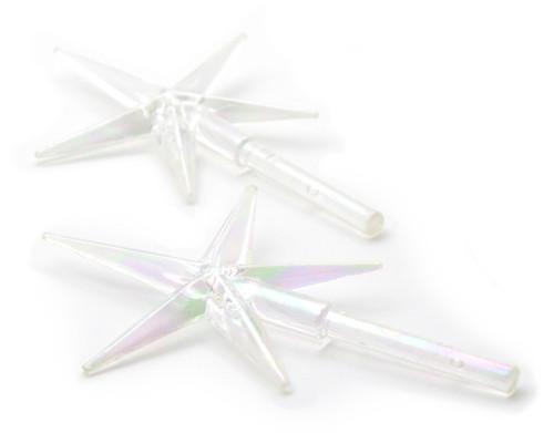 "Ceramic Christmas Tree Stars 3.875""X2.625"" 2/Pkg-Iridescent -40000459"
